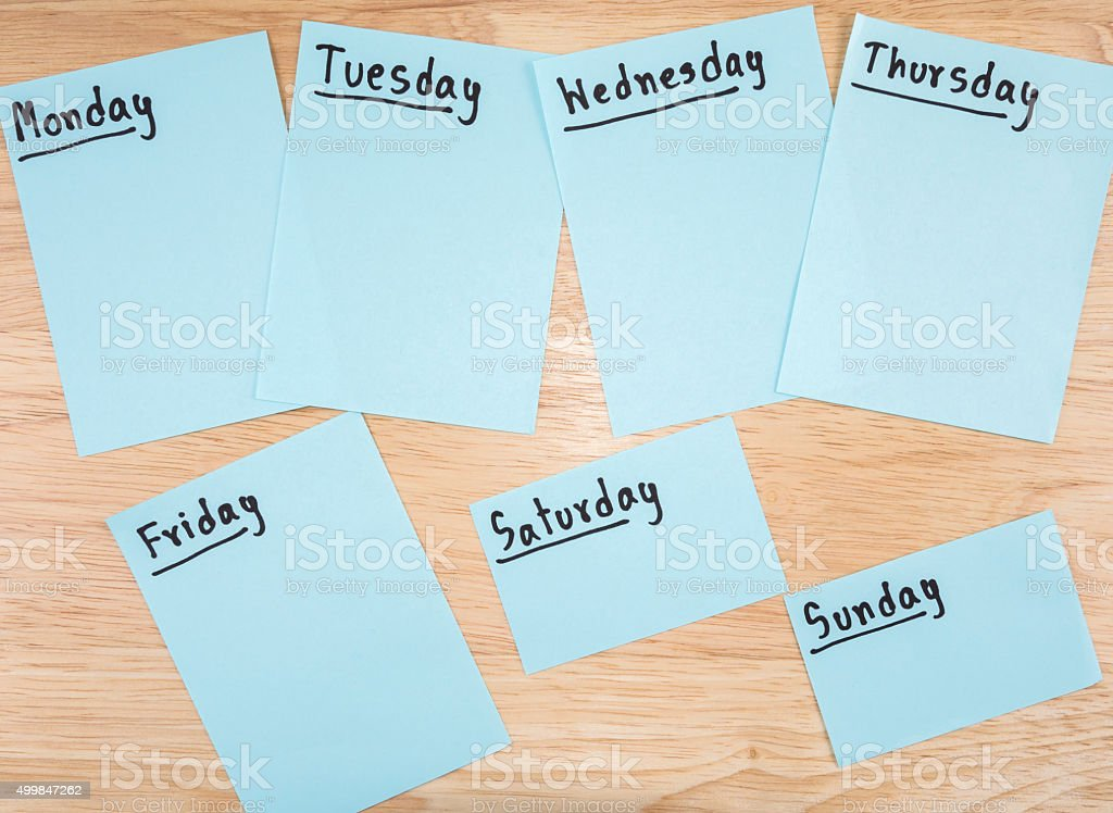 Day in the week 2 stock photo