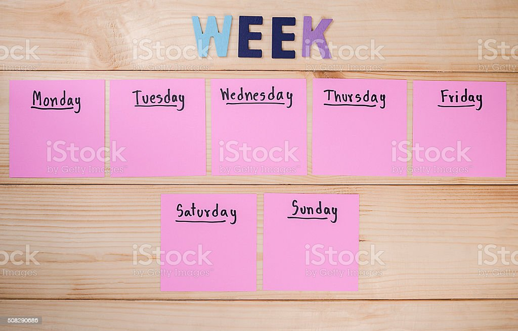 Day in the week 5 stock photo