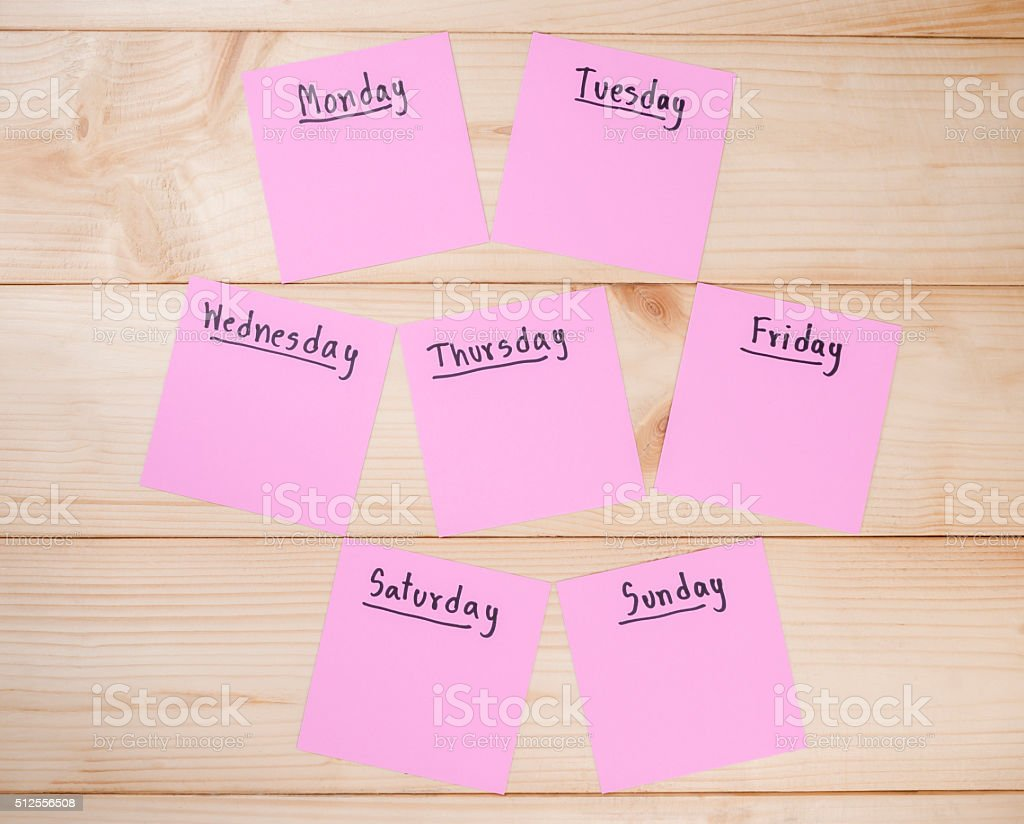 Day in the week 7 stock photo