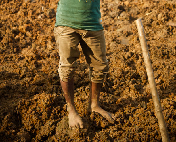 A day labour standing around the soil surface ground stock photo