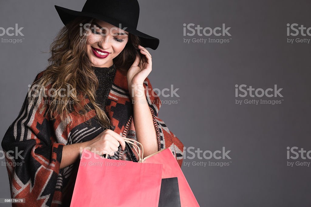 Day looks better with a bunch of shopping bags foto royalty-free