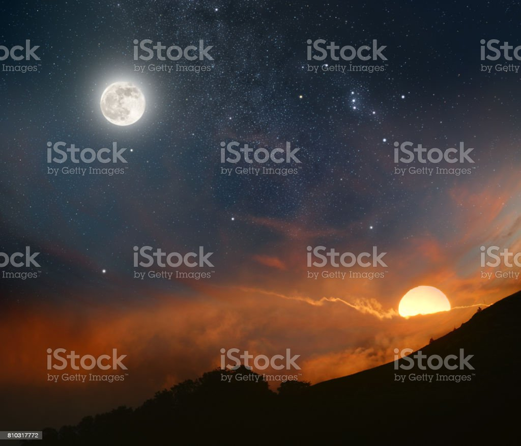 Day meets night stock photo