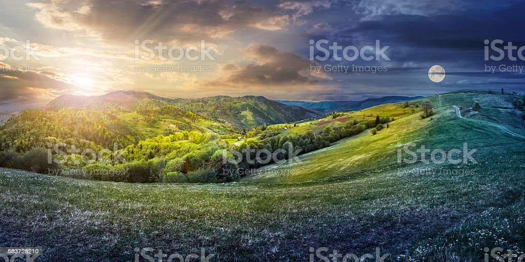 day nad night concept of Rural landscape stock photo