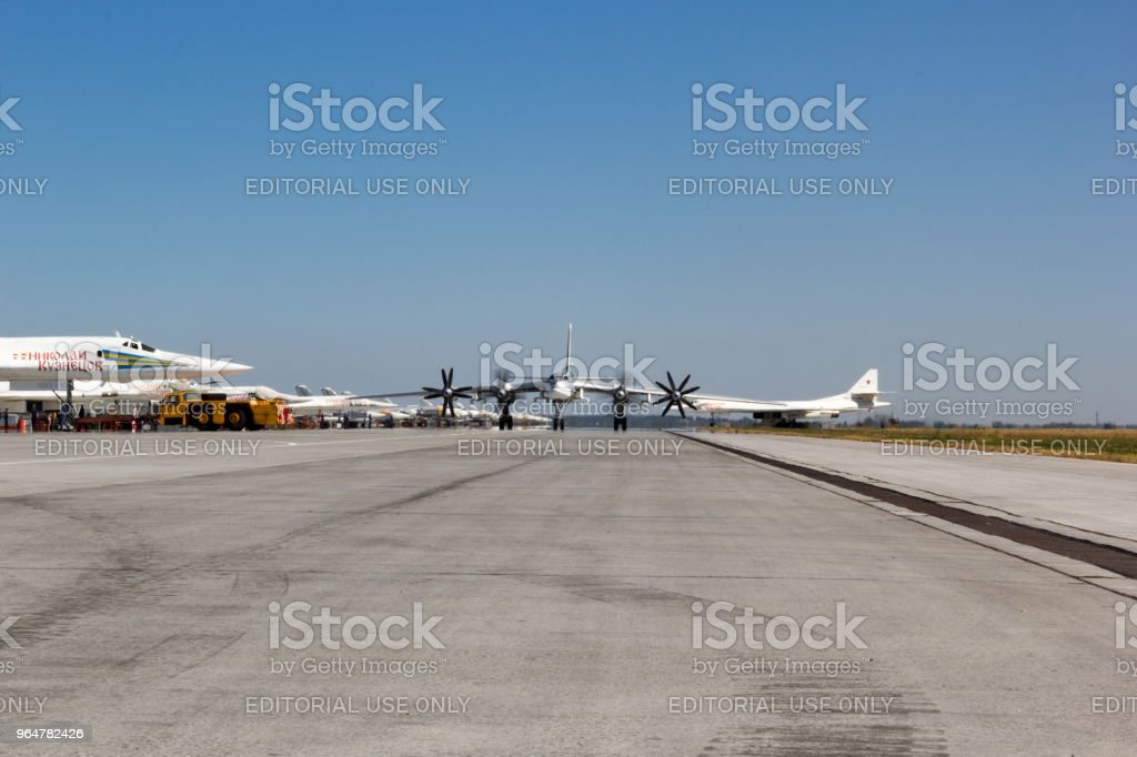 Day of the Air Fleet. Military aircraft at a military airfield on the runway royalty-free stock photo