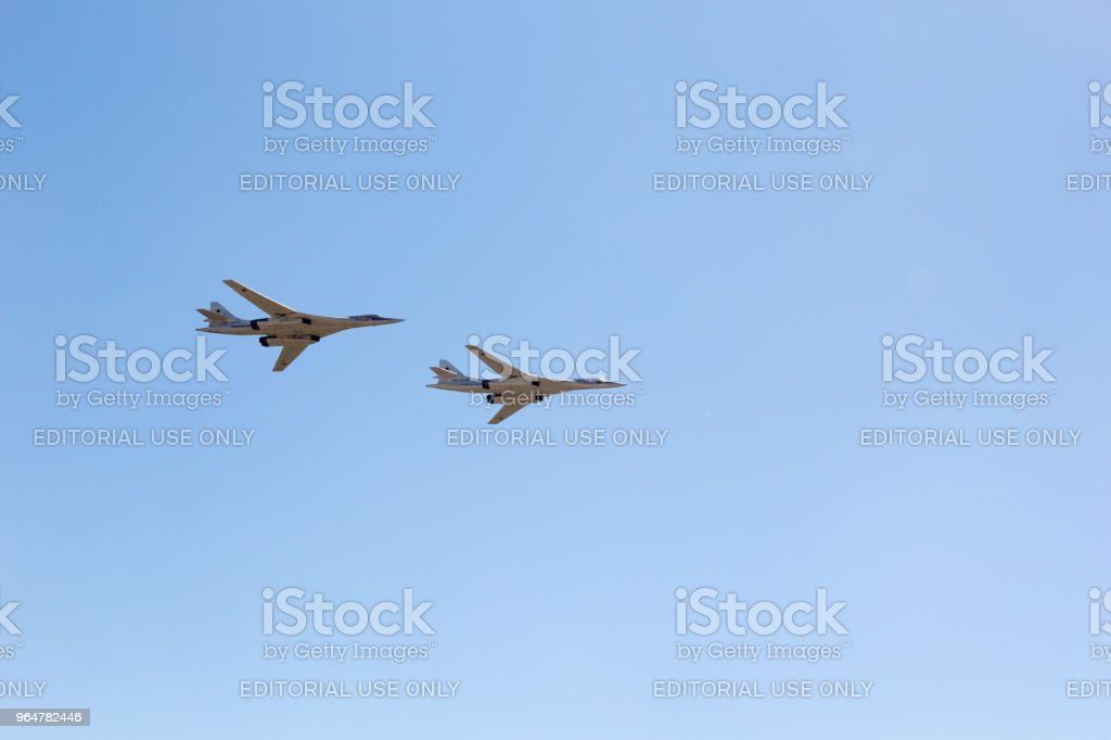 Day of the Air Fleet. Military bomber in the air, in the sky royalty-free stock photo