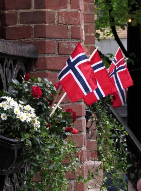 tag der verfassung - norwegen fahne stock-fotos und bilder