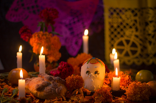 Day of the dead altar for mexican celebration