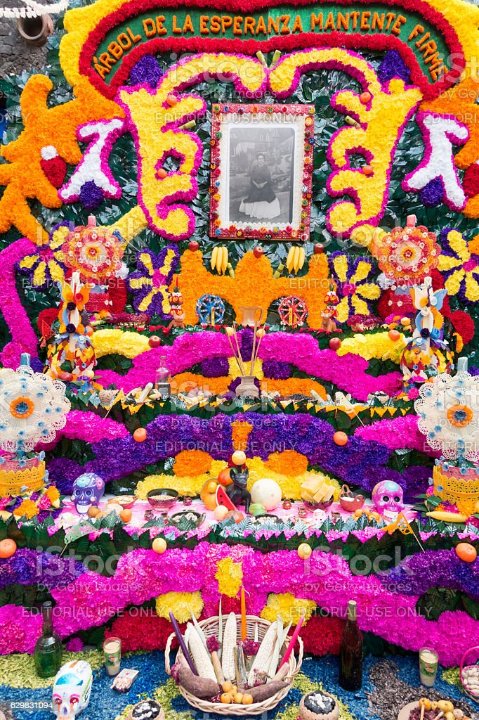 Day of the Dead Altar Frida Kahlo Home Mexico City stock photo