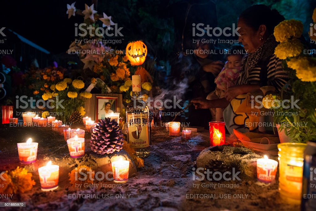 Day of the Dead - cemetery in Oaxaca, Mexico stock photo