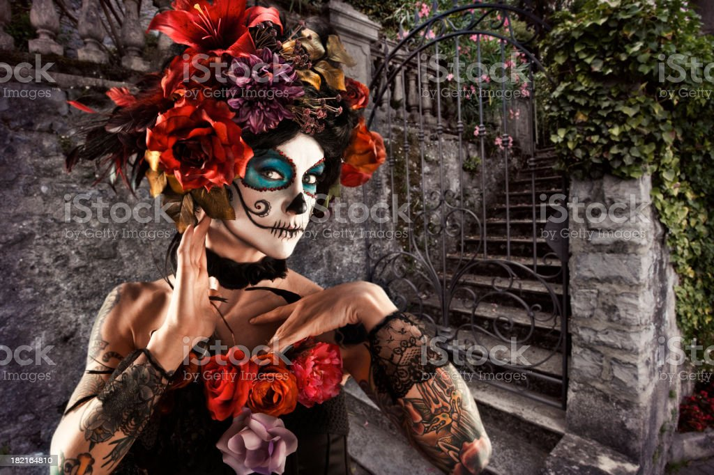 Day of the dead face skull painting stock photo