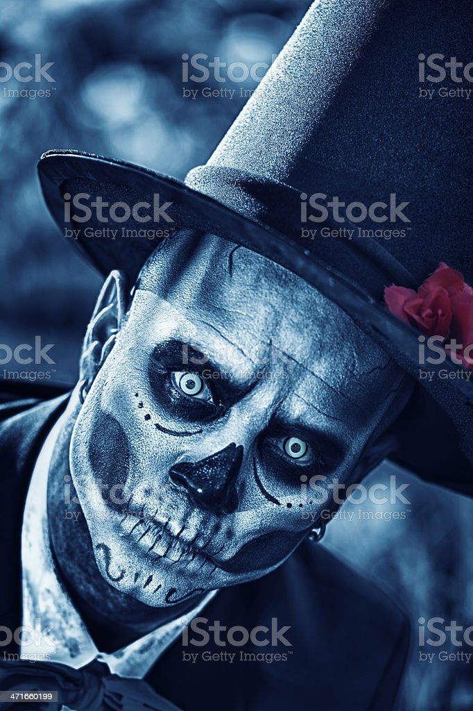 Day of The Dead Groom  - Close Up stock photo