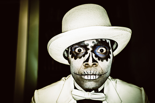 Day Of The Dead Man Bizarre Portrait Stock Photo - Download Image Now