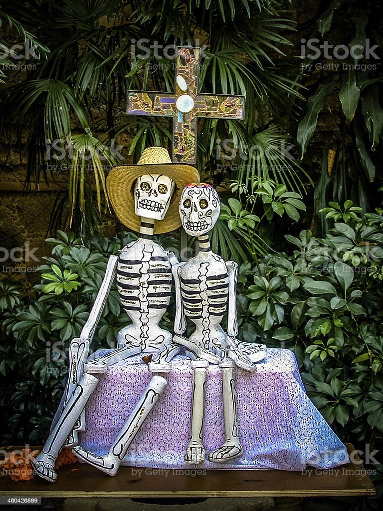Day of the dead paper skeletons couple stock photo