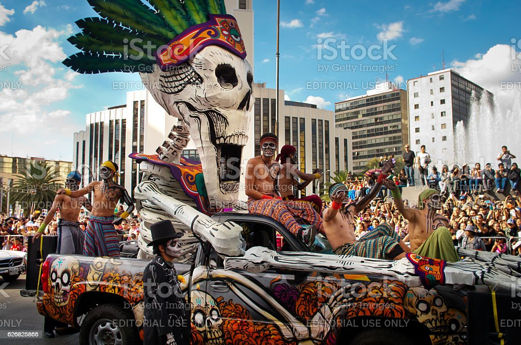 Day of the dead parade in Mexico city. stock photo
