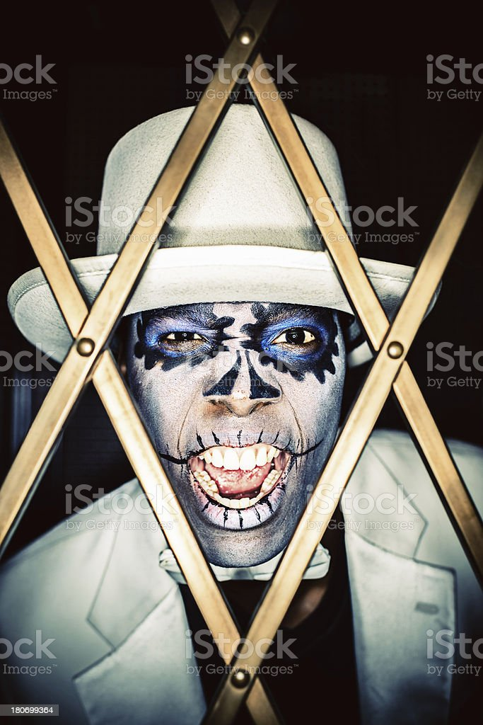 Day of the Dead Screaming Man Halloween Portrait royalty-free stock photo