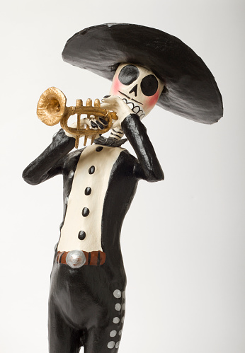 Day of the dead skeleton mariachi  trumpet player