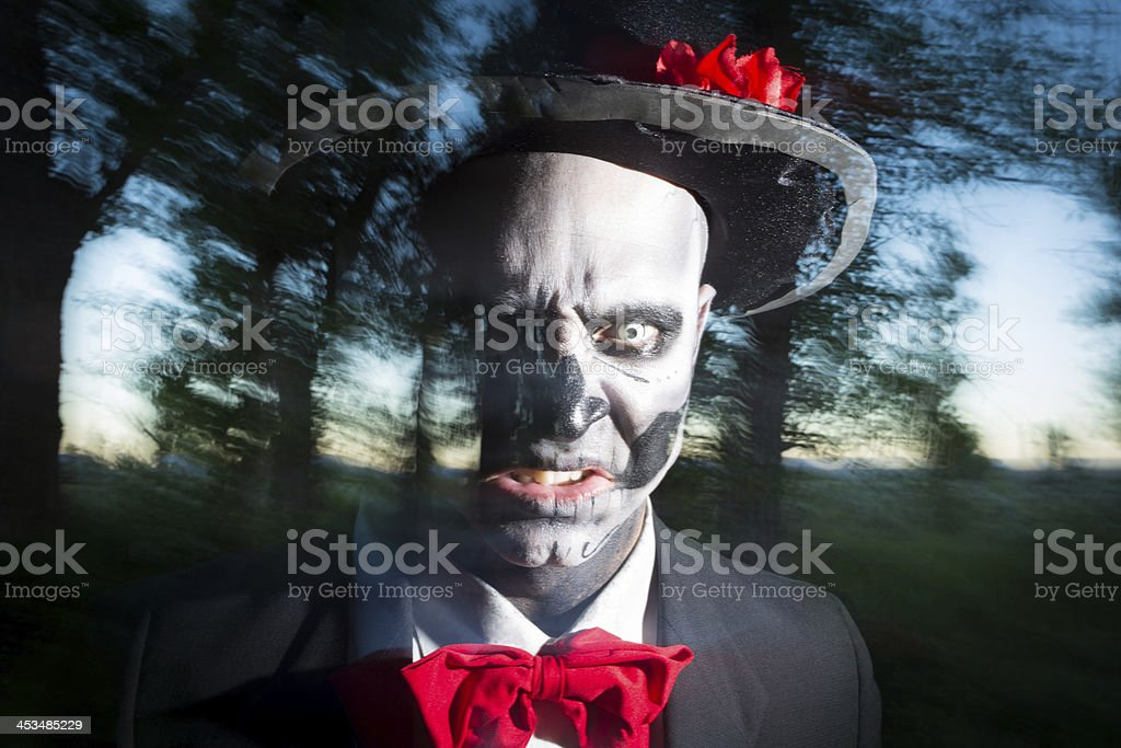 Day of the Dead skeleton performer dramatic portrait royalty-free stock photo