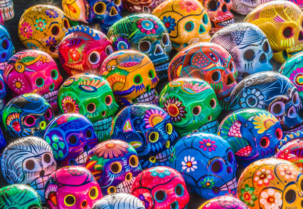 day of the dead skulls - mexico stock photos and pictures