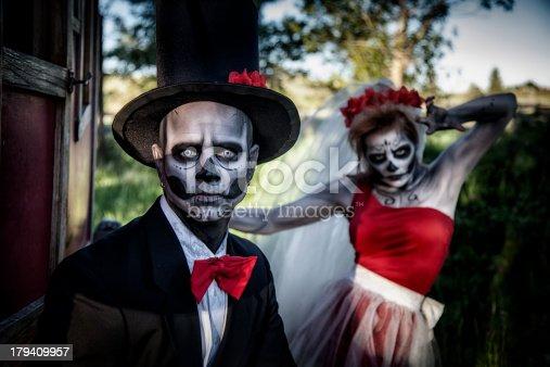 Spooky sugar skull couple