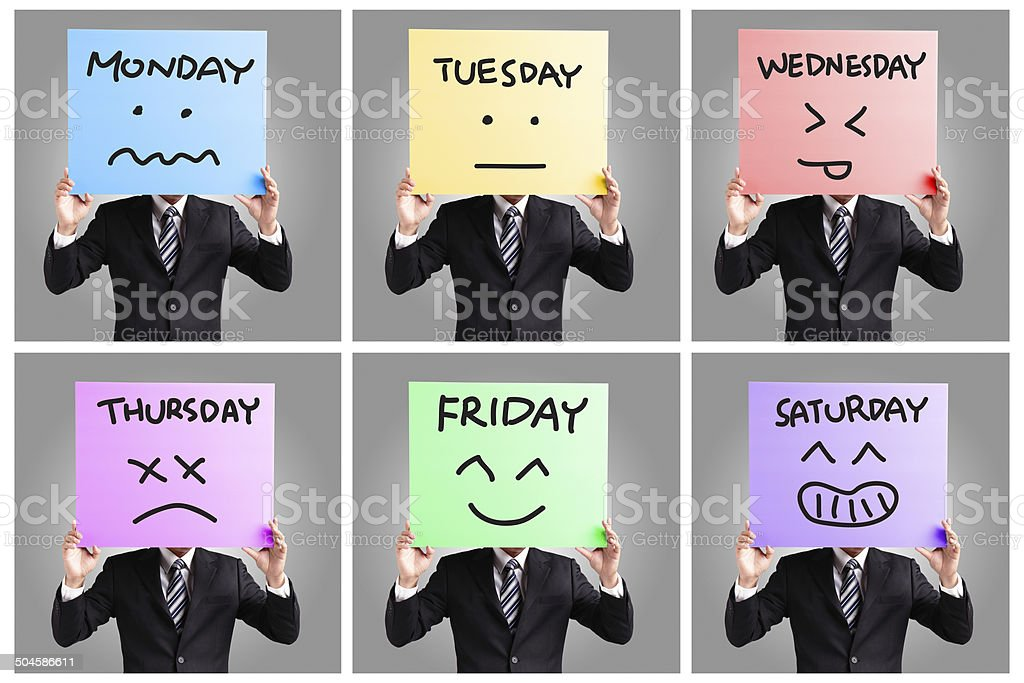 Day of week and face expression stock photo