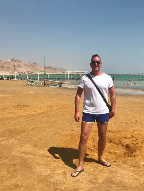 A day out at the Dead Sea. stock photo
