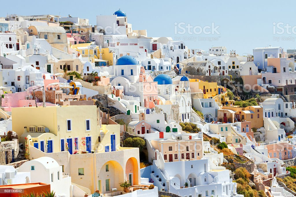 Day panorama of Oia, Santorini stock photo