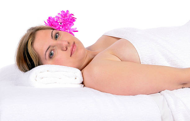 Day spa aroma therapy and massage stock photo