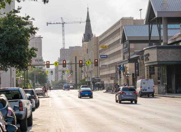 Day Time Street View of Commerce Downtown San Antonio stock photo