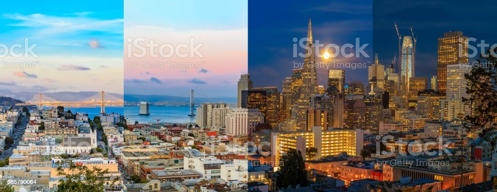 Day to night timelapse timeslice San Franciso panorama with full moon stock photo