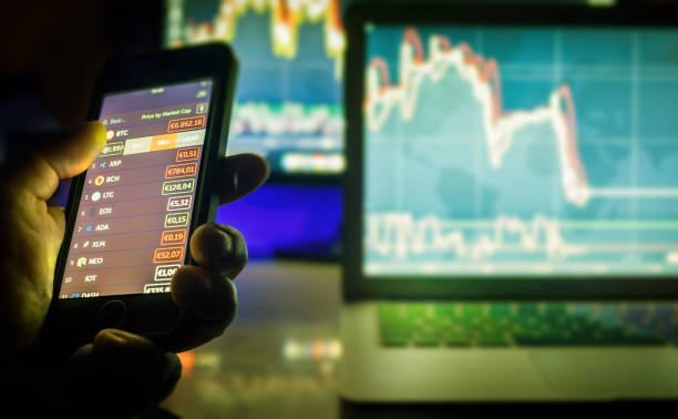 Day trader charts stock photo