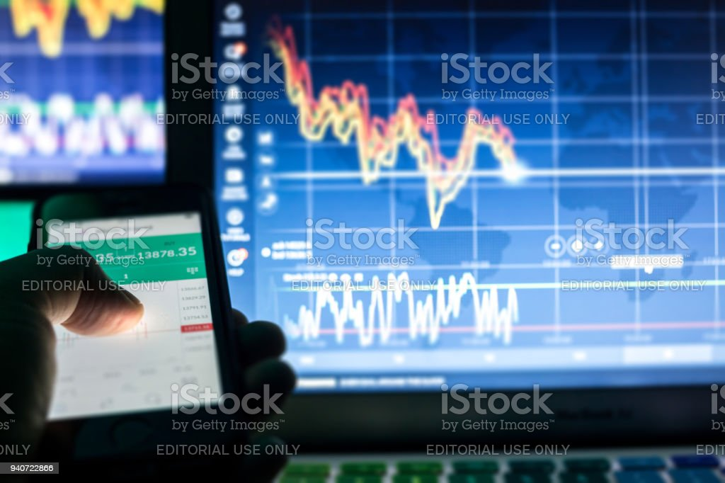 Day trader devices stock photo