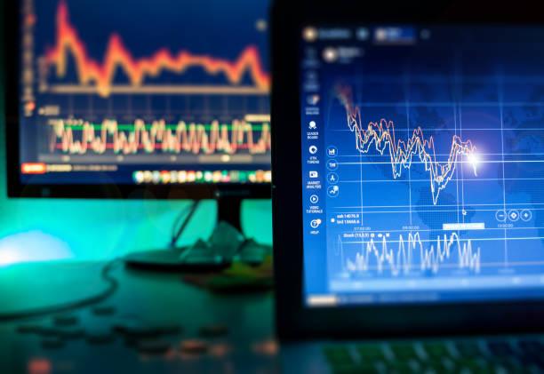 Day trader screens stock photo
