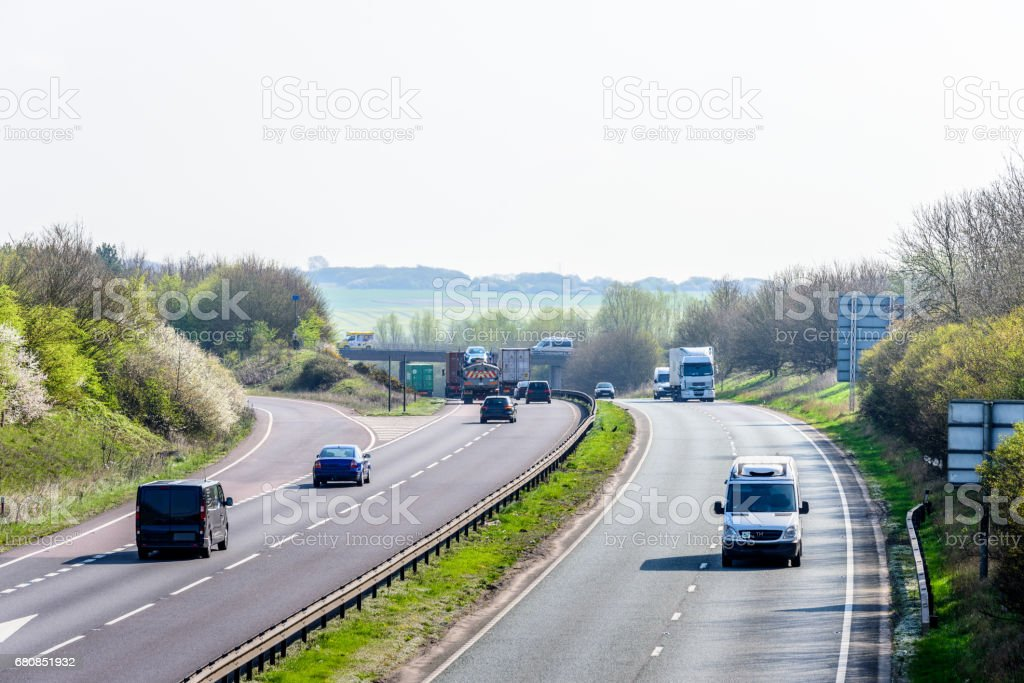 Day view background of UK Motorway Road stock photo