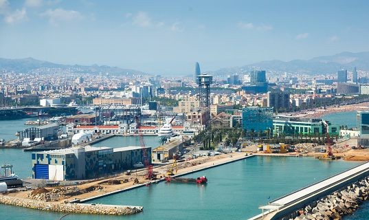 Day view of Barceloneta from sea side. Barcelona