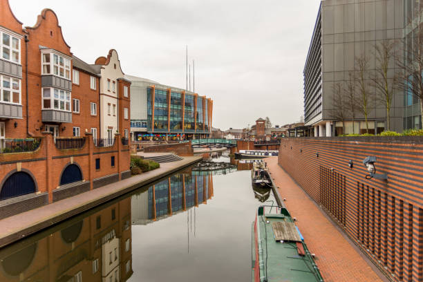 Day View of boat canal in Coventry City Centre, Birmingham. stock photo