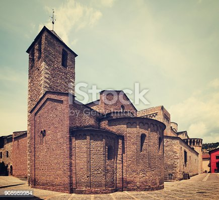 Day view of Cathedral of Urgel in La Seu d'Urgell. Catalonia, Spain
