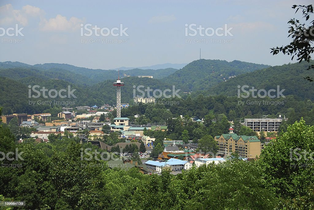 Day view of Gatlinburg, Tennessee stock photo