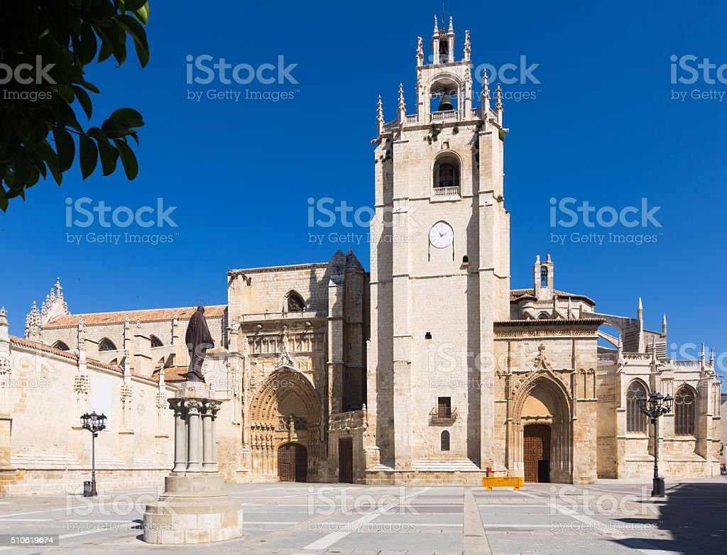 Day view of Palencia Cathedral stock photo