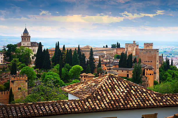 Day view to   Alhambra.  Granada Day view to   Alhambra.  Granada,  Spain palacios nazaries stock pictures, royalty-free photos & images