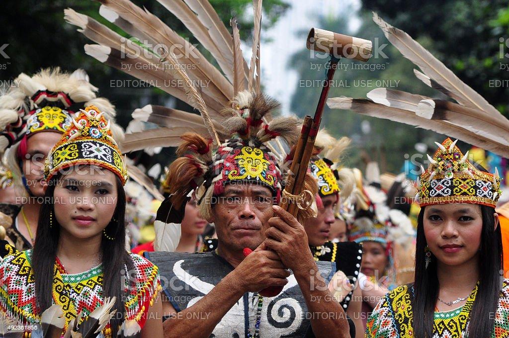 Dayak Tribes of Kalimantan stock photo