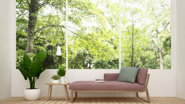 Daybed in living room and nature view - Living room in house or apartment on forest view background - Interior simple design - 3D Rendering Daybed in living room and nature view - Living room in house or apartment on forest view background - Interior simple design - 3D Rendering chaise longue stock pictures, royalty-free photos & images