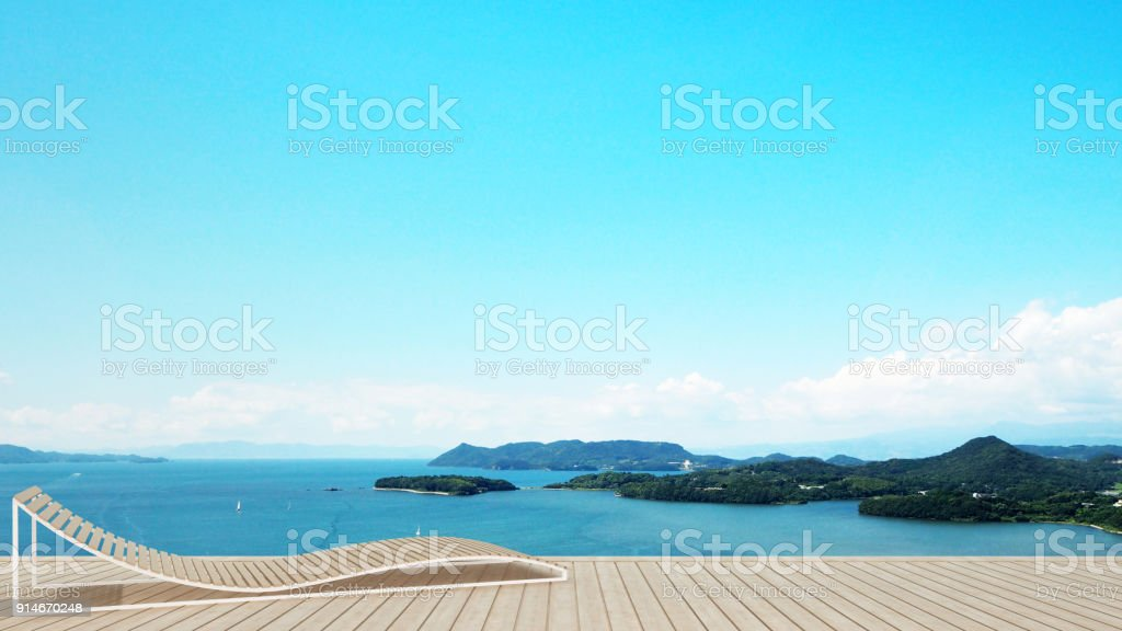 daybed on terrace in hotel or condominium with  island view and sea view - living area on balcony sea view - artwork for holiday time - Blur background - 3D Rendering stock photo