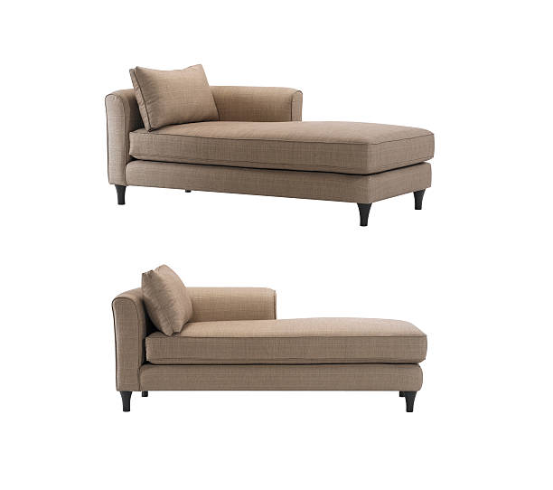 Daybed sofa Brown daybeds with pillows, isolated with clipping mask. chaise longue stock pictures, royalty-free photos & images