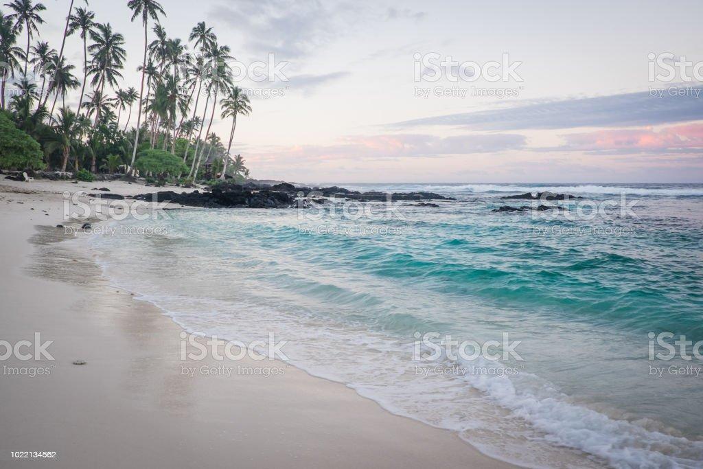 Daybreak at Lefaga Matautu Beach, Upolu Island, Samoa, South Pacific stock photo