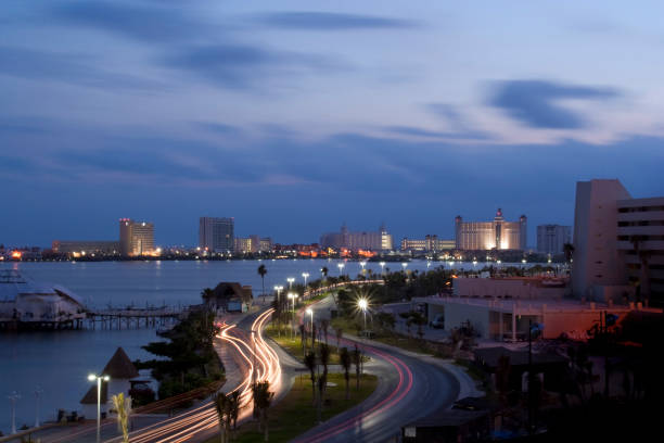 Daybreak Cancun stock photo