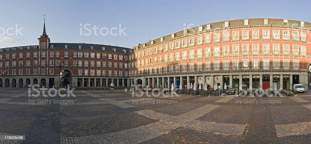 Daybreak in Plaza Mayor Madrid stock photo