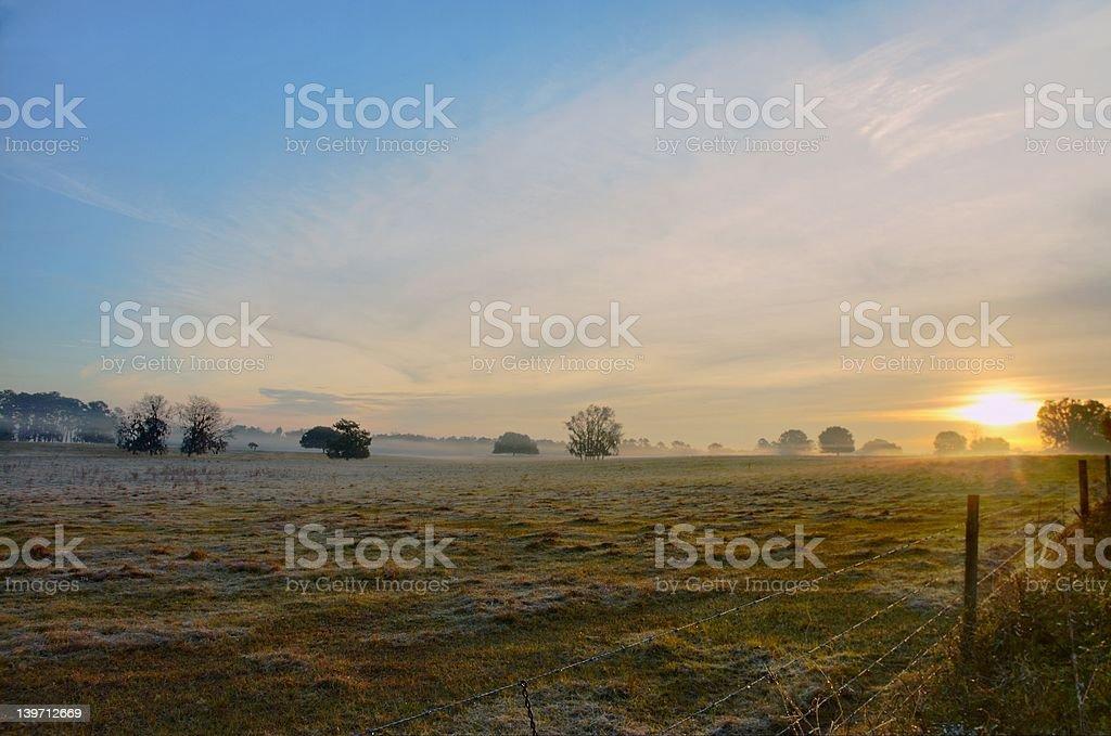 Daybreak on the farms stock photo