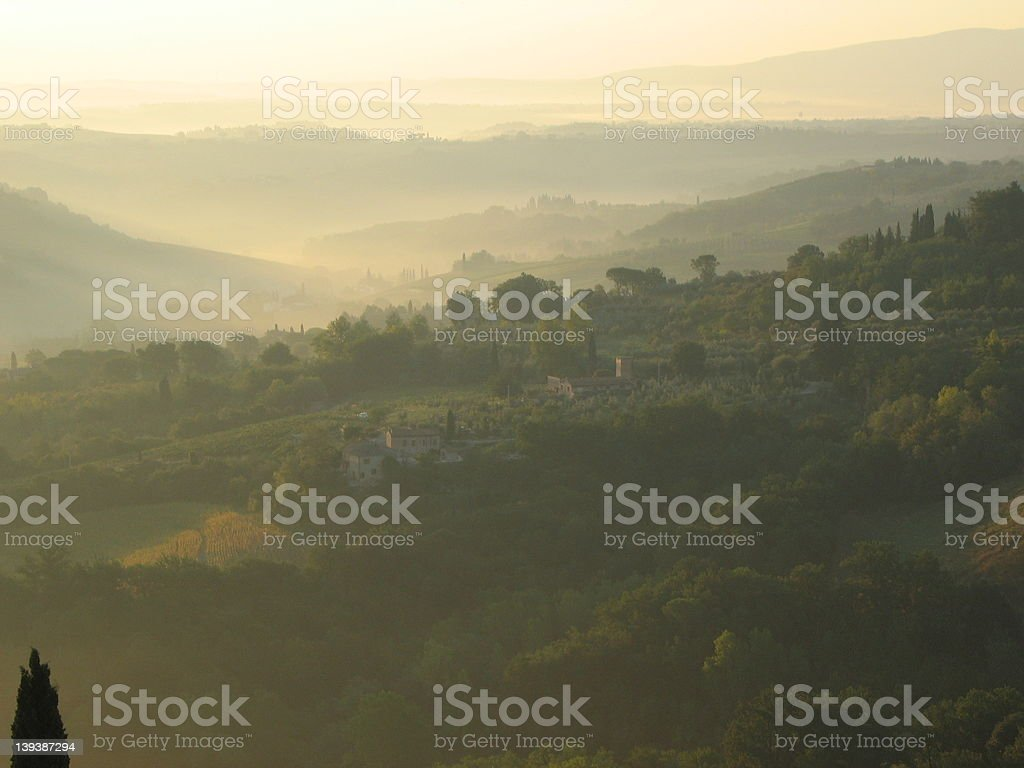 Daybreak outside San Gimignano 2 royalty-free stock photo