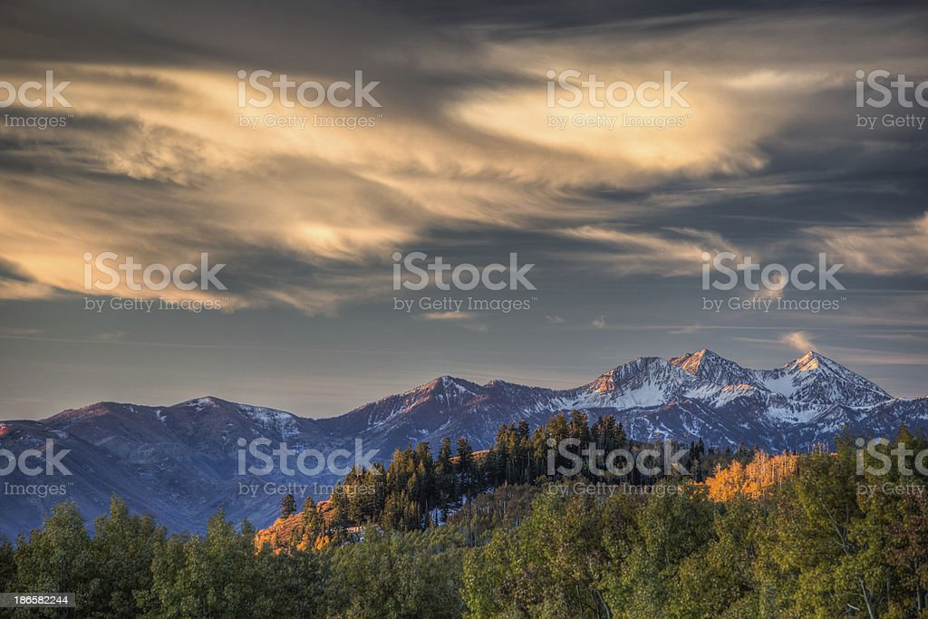 Daybreak over Heber Valley and the Wasatch Mountains stock photo