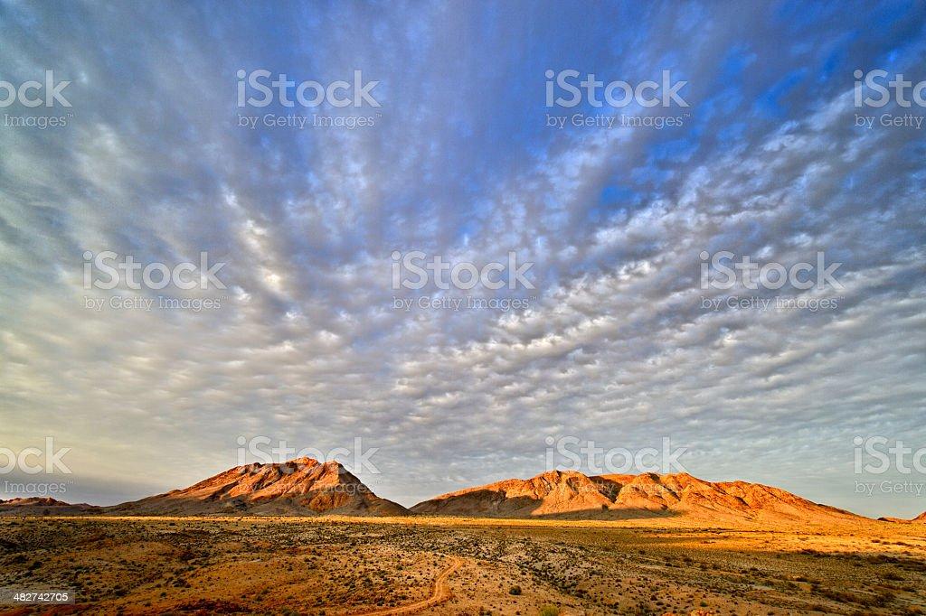 Daybreak over Namibia border mountains stock photo